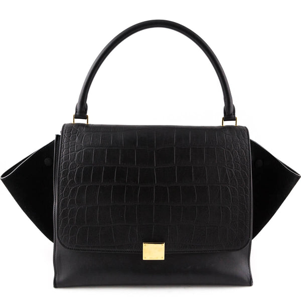 c3eab75307 Celine Black Suede and Croc Embossed Calfskin Medium Trapeze - LOVE that BAG  - Preowned Authentic