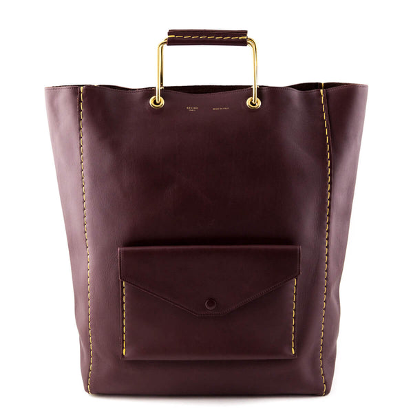 a914b5bf78 Celine Burgundy Natural Calfskin Vertical Cabas Tote - LOVE that BAG -  Preowned Authentic Designer Handbags