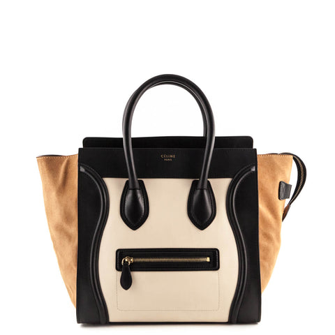 Celine Caramel Tricolor Calfskin and Suede Mini Luggage