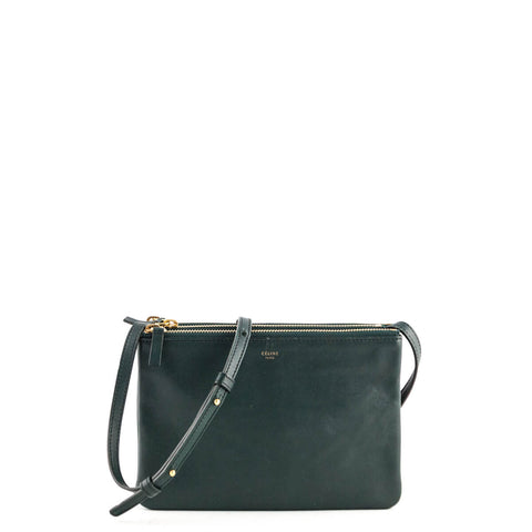 Celine Forest Green Lambskin Small Trio Crossbody