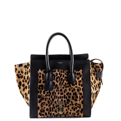 Celine Leopard Print Pony Hair Envelope Mini Luggage