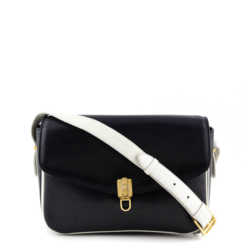 0cc2df723d7b Celine Navy   White Calfskin Vintage Crossbody Bag - LOVE that BAG -  Preowned Authentic Designer ...
