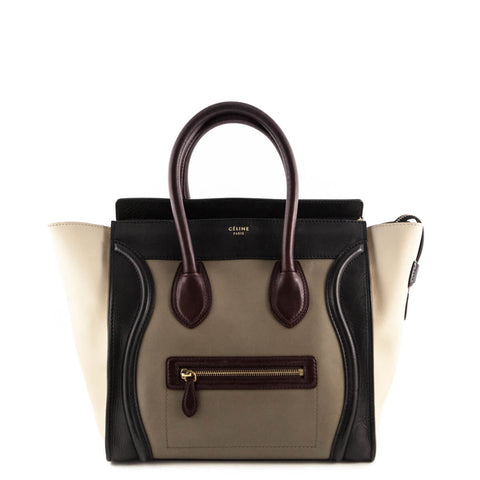 Celine Olive Tricolor Calfskin Mini Luggage