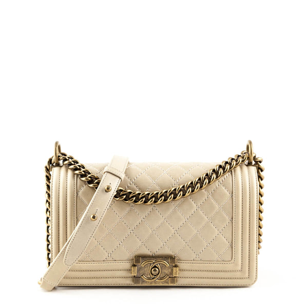 3434971d457e4 Chanel Beige Aged Calfskin Medium Old Boy Bag GHW - LOVE that BAG - Preowned  Authentic