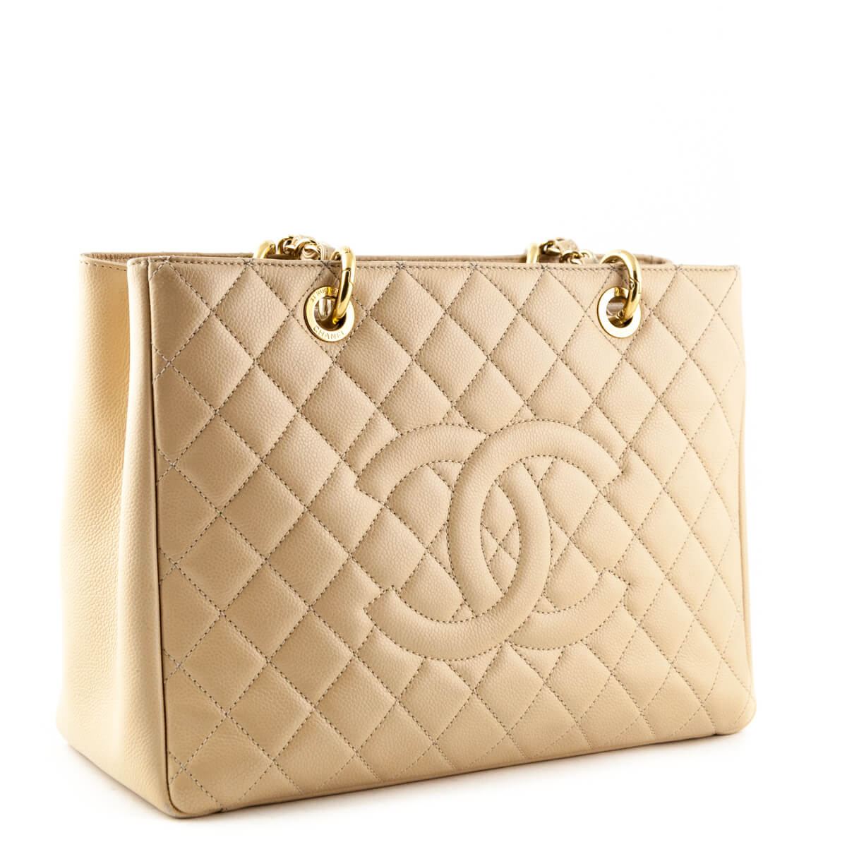 50a262bf8f1 Chanel Beige Caviar Grand Shopping Tote GHW
