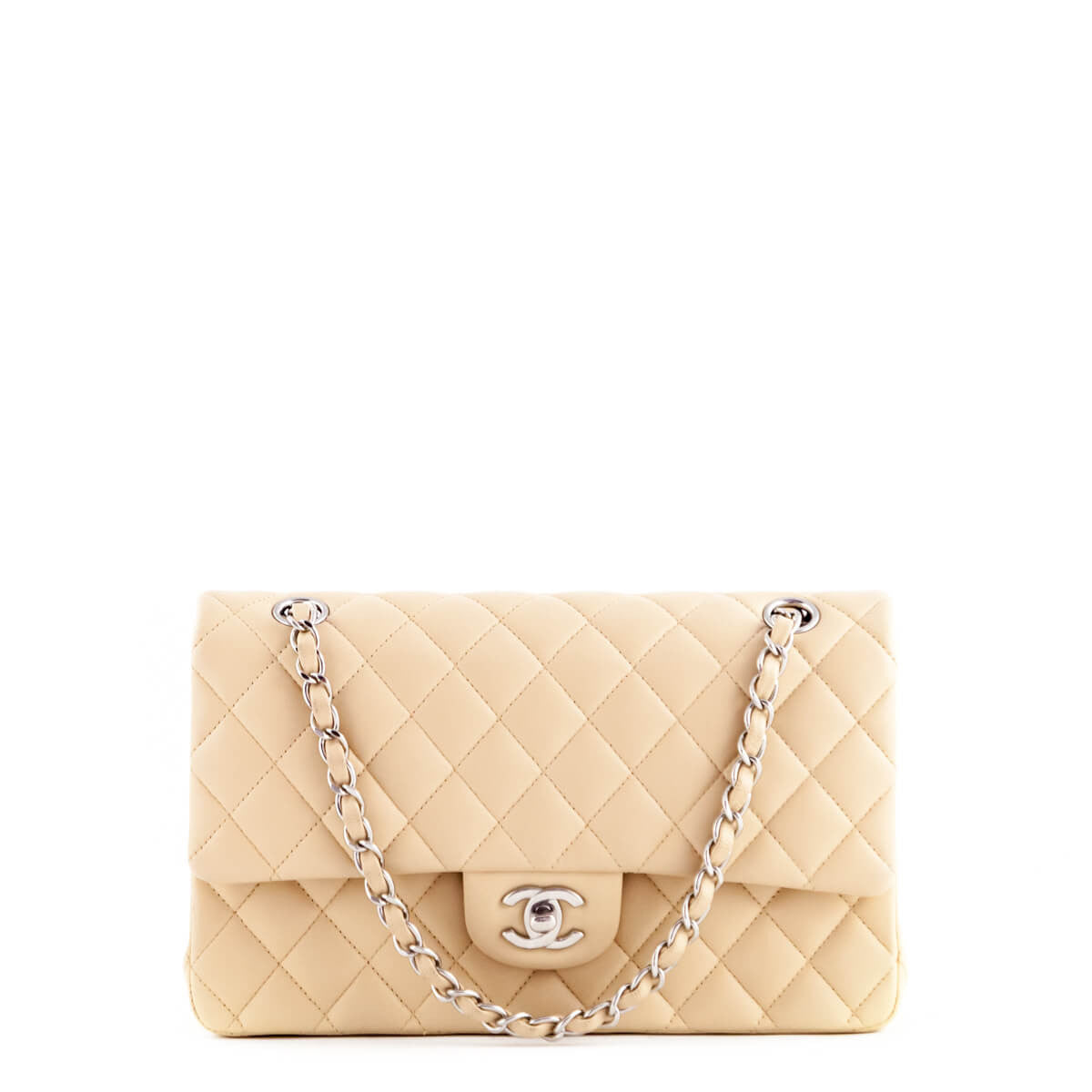 5489c5f3a9eee Chanel Beige Lambskin Medium Double Flap SHW - LOVE that BAG - Preowned  Authentic Designer Handbags ...