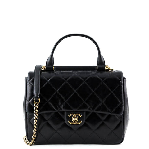 Chanel Black Aged Calfskin Small Flap Bag with Top Handle GHW