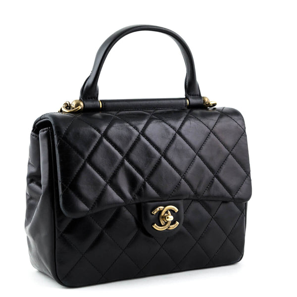 dc04eb4f1406 Chanel Black Aged Calfskin Small Flap Bag with Top Handle GHW-6 600x.jpg v 1555630055
