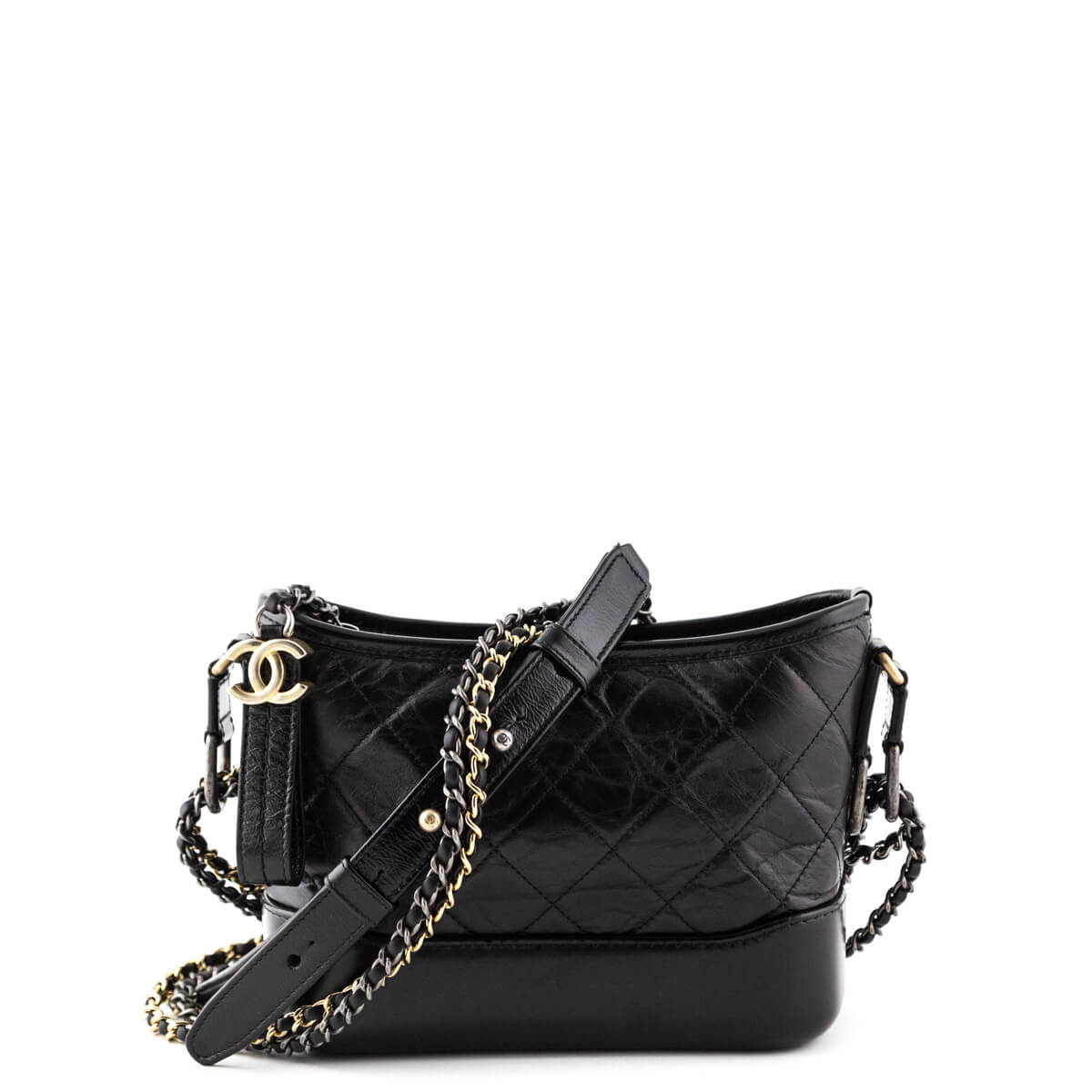402d9312ddf1c4 Chanel Black Aged Calfskin Small Gabrielle Hobo Bag - LOVE that BAG -  Preowned Authentic Designer ...