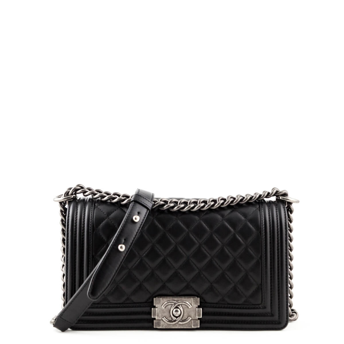 048742cba98c1c Chanel Black Calfskin Old Medium Boy Bag - LOVE that BAG - Preowned  Authentic Designer Handbags ...