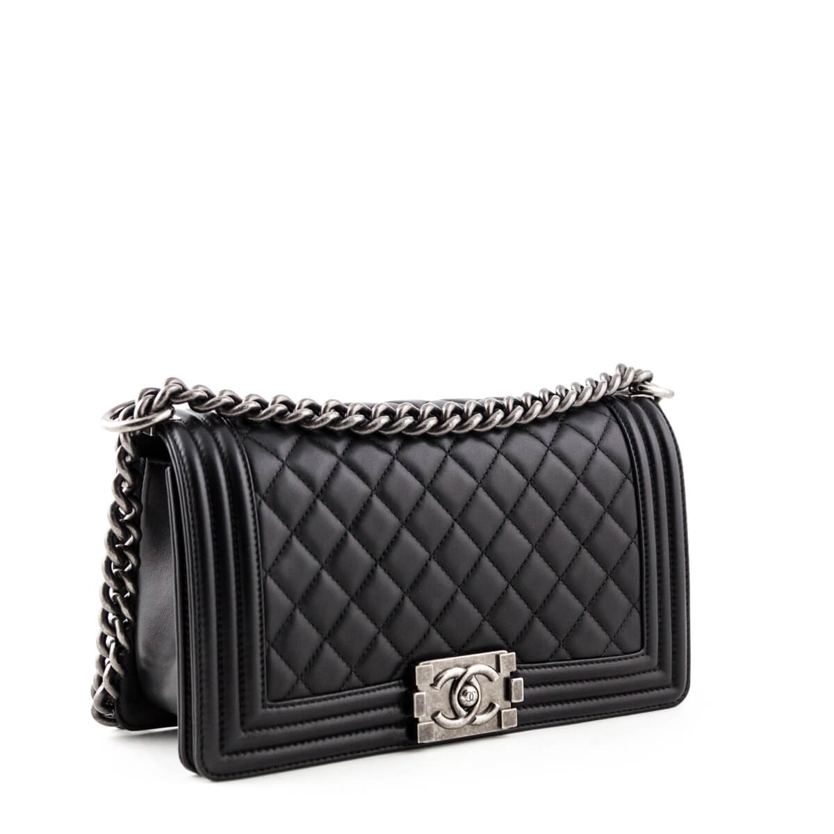 0534c30031d24 ... Chanel Black Calfskin Old Medium Boy Bag - LOVE that BAG - Preowned  Authentic Designer Handbags ...