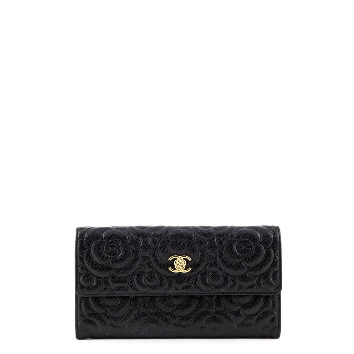 f359c50c88a6fb Chanel Black Caviar Camellia Embossed Flap Wallet - LOVE that BAG - Preowned  Authentic Designer Handbags ...