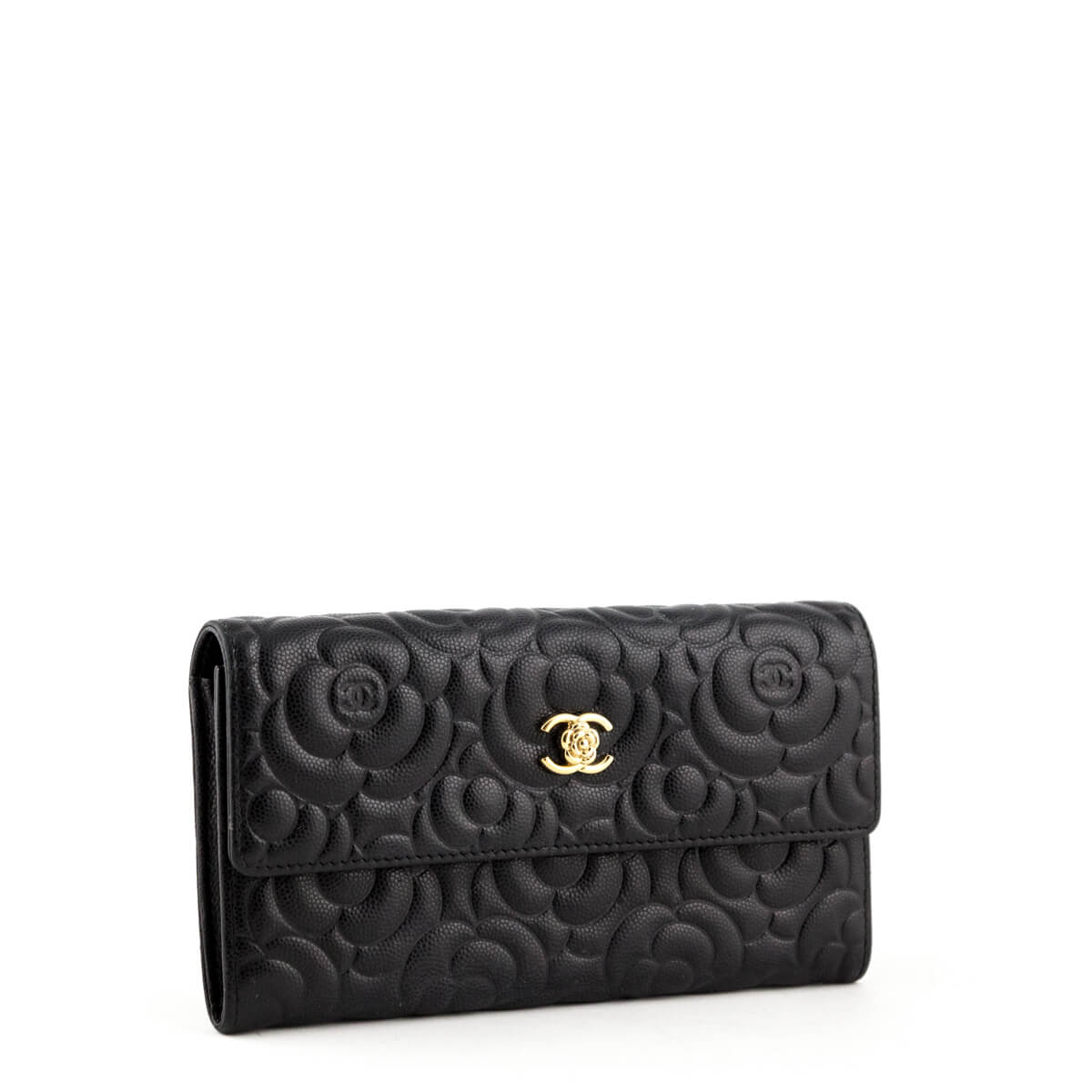 ... Chanel Black Caviar Camellia Embossed Flap Wallet - LOVE that BAG -  Preowned Authentic Designer Handbags ... 7ce1316a7268e