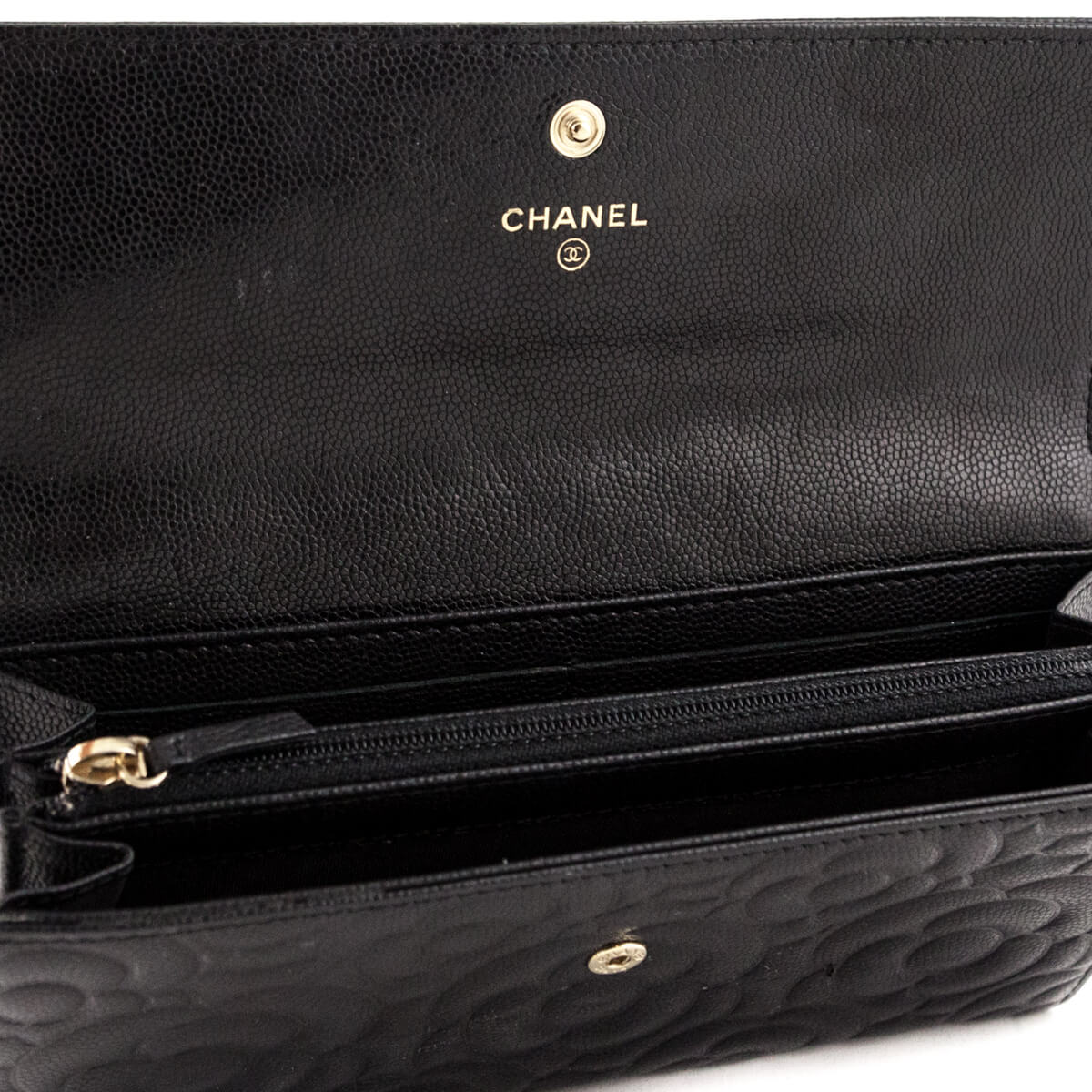 6f37a40bc14e4b ... Chanel Black Caviar Camellia Embossed Flap Wallet - LOVE that BAG -  Preowned Authentic Designer Handbags ...