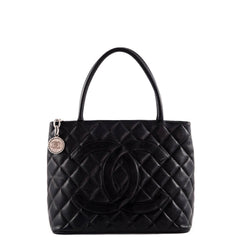 Chanel Black Caviar Medallion Tote SHW