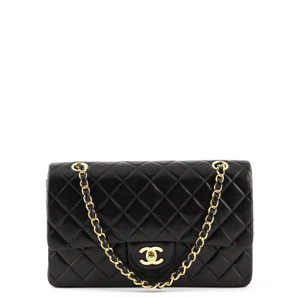fccf15dc2c62 Chanel Black Lambkin Vintage Classic Medium Double Flap Bag GHW