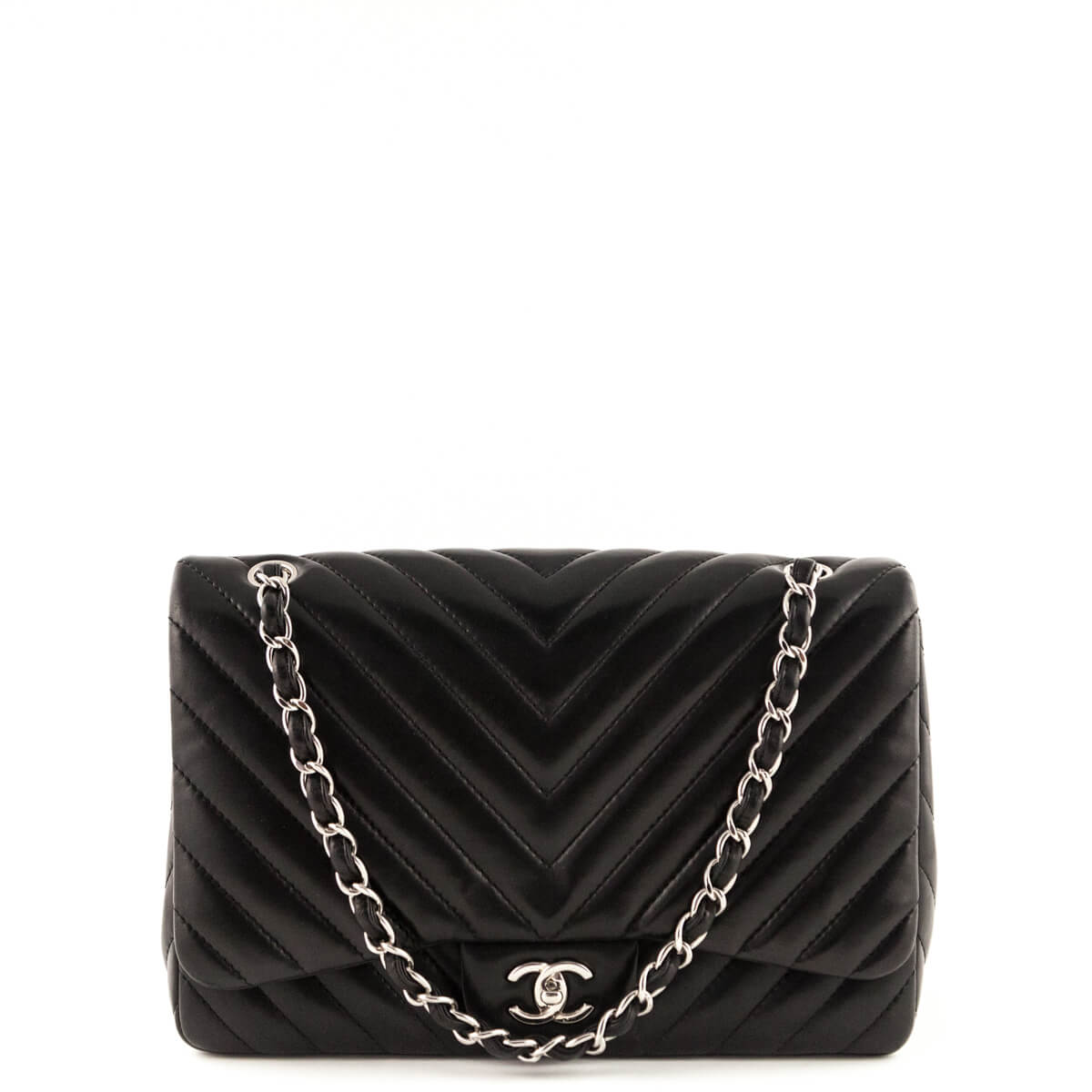 fc8c989893bb Chanel Black Chevron Lambskin Jumbo Single Flap SHW - LOVE that BAG -  Preowned Authentic Designer ...