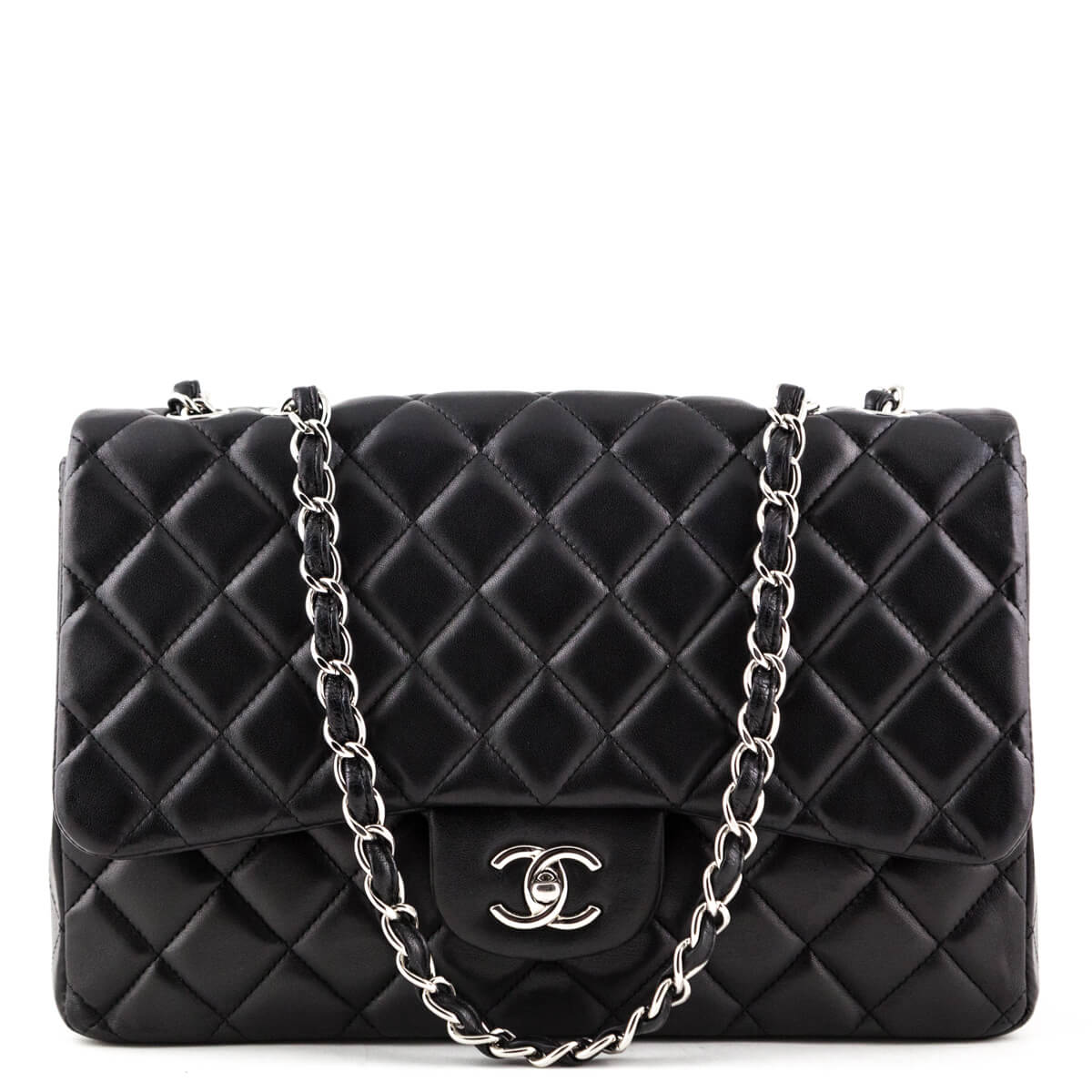 c5d1b0b36a55 Chanel Black Lambskin Jumbo Classic Single Flap Bag SHW - LOVE that BAG -  Preowned Authentic ...
