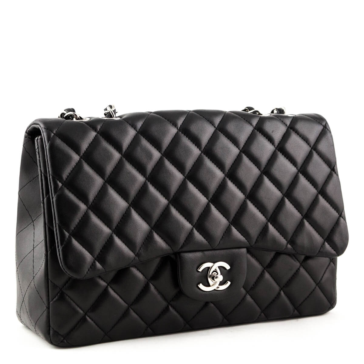 21596f3620ec ... Chanel Black Lambskin Jumbo Classic Single Flap Bag SHW - LOVE that BAG  - Preowned Authentic ...