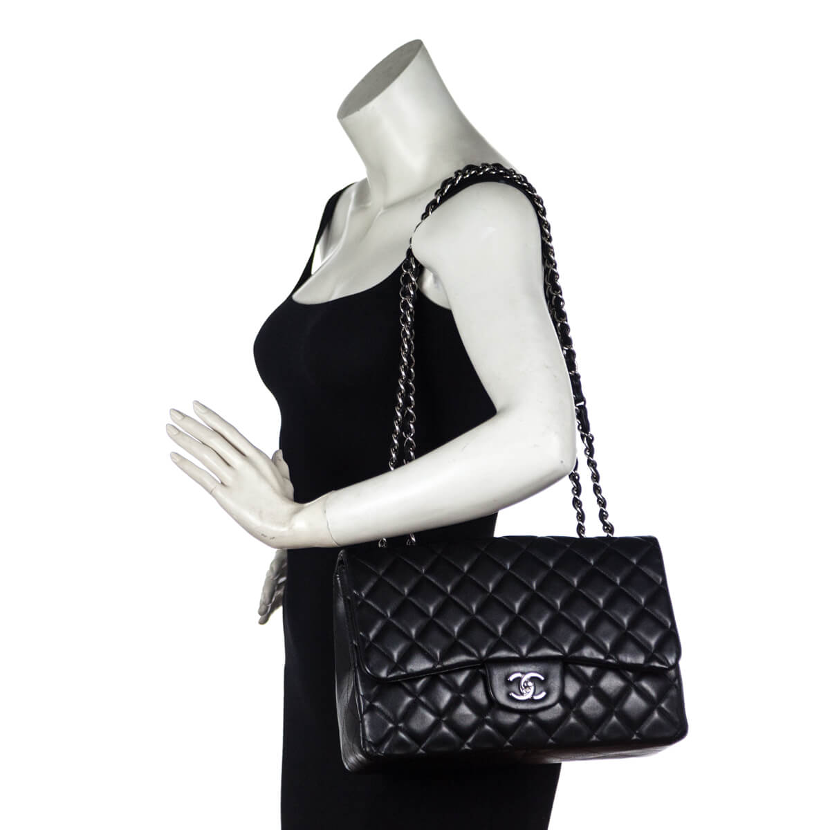 500388e446b4 ... Chanel Black Lambskin Jumbo Classic Single Flap Bag SHW - LOVE that BAG  - Preowned Authentic