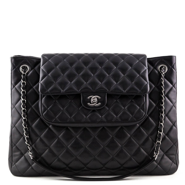 68a68d302b7ec Chanel Black Lambskin Large Flap Shopping Tote - LOVE that BAG - Preowned  Authentic Designer Handbags