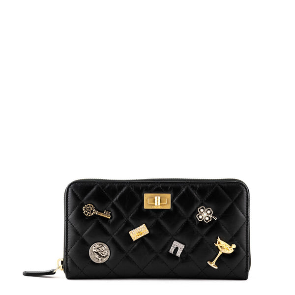 e31406903a33 Chanel Black Lambskin Large Lucky Charms Reissue Zipped Wallet - LOVE that  BAG - Preowned Authentic