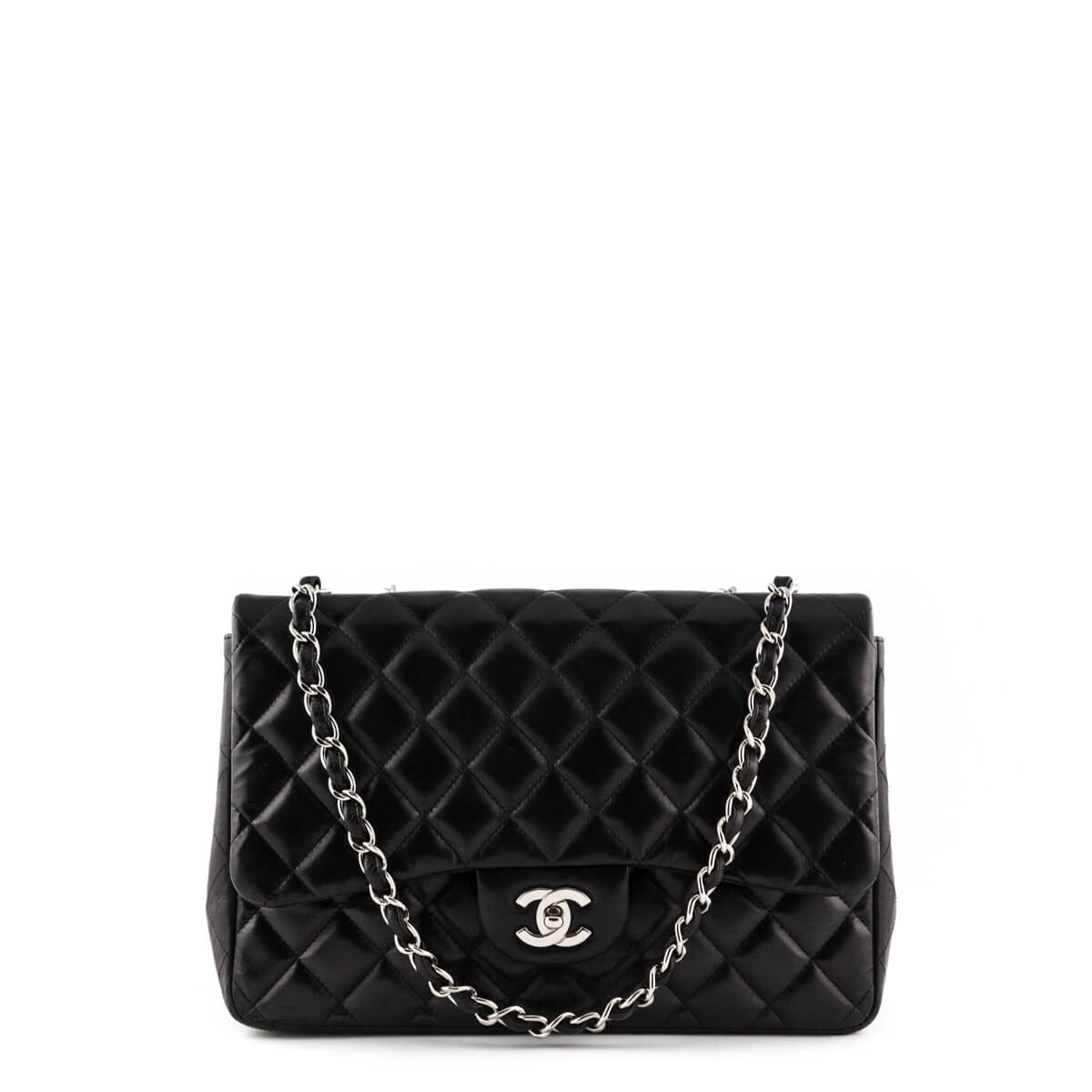 c26fbac66ffde9 Chanel Black Lambskin Jumbo Single Flap Bag SHW - LOVE that BAG - Preowned  Authentic Designer ...
