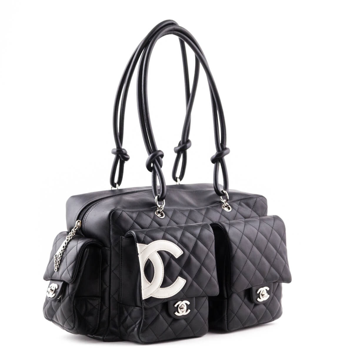 f55f57695886 ... Chanel Black Lambskin Quilted Cambon Pocket Tote - LOVE that BAG -  Preowned Authentic Designer Handbags ...