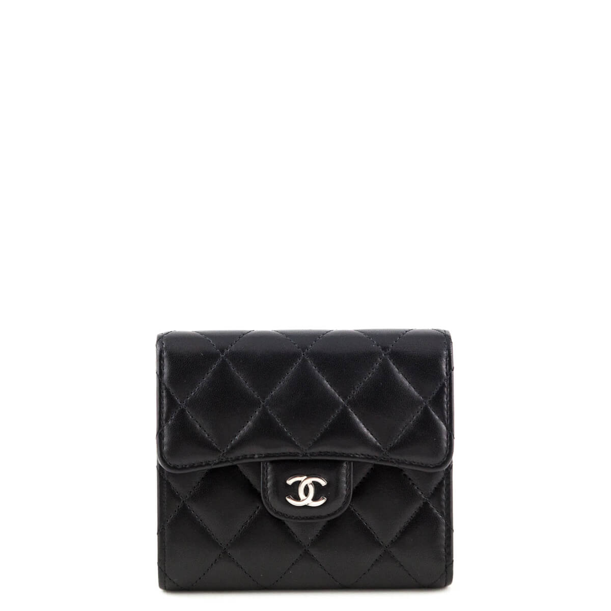92f91e694653fa Chanel Black Lambskin Small Bifold Wallet SHW - LOVE that BAG - Preowned  Authentic Designer Handbags ...