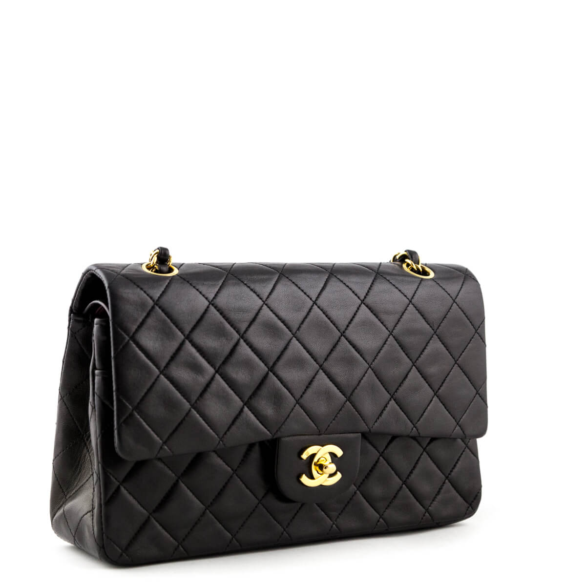b0e47a646cac ... Chanel Black Lambskin Vintage Medium Classic Double Flap - LOVE that  BAG - Preowned Authentic Designer ...