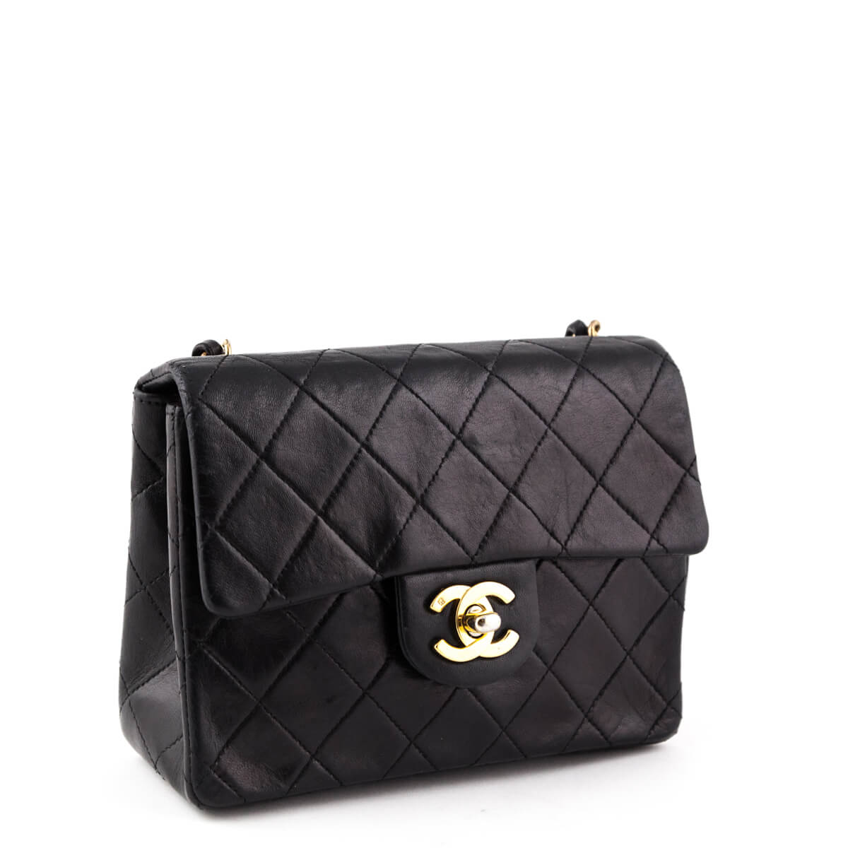 8472ecb7d5f1 ... Chanel Black Lambskin Vintage Mini Square Flap bag - LOVE that BAG -  Preowned Authentic Designer ...