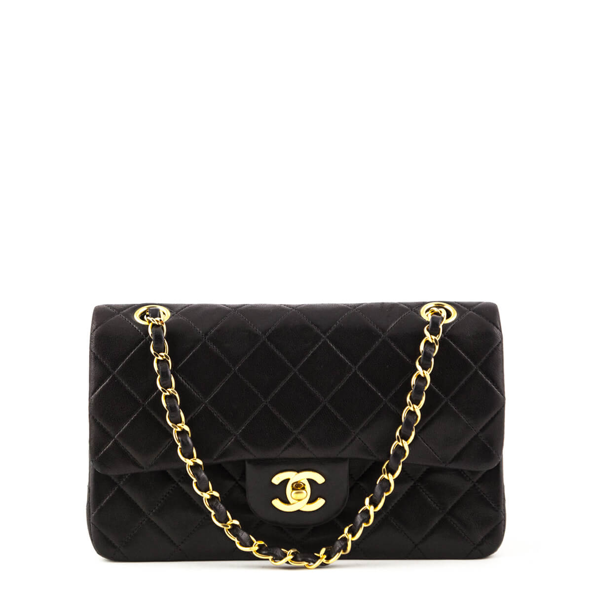 ad8fad4221a3 Chanel Black Lambskin Vintage Small Double Flap Bag GHW - LOVE that BAG -  Preowned Authentic ...