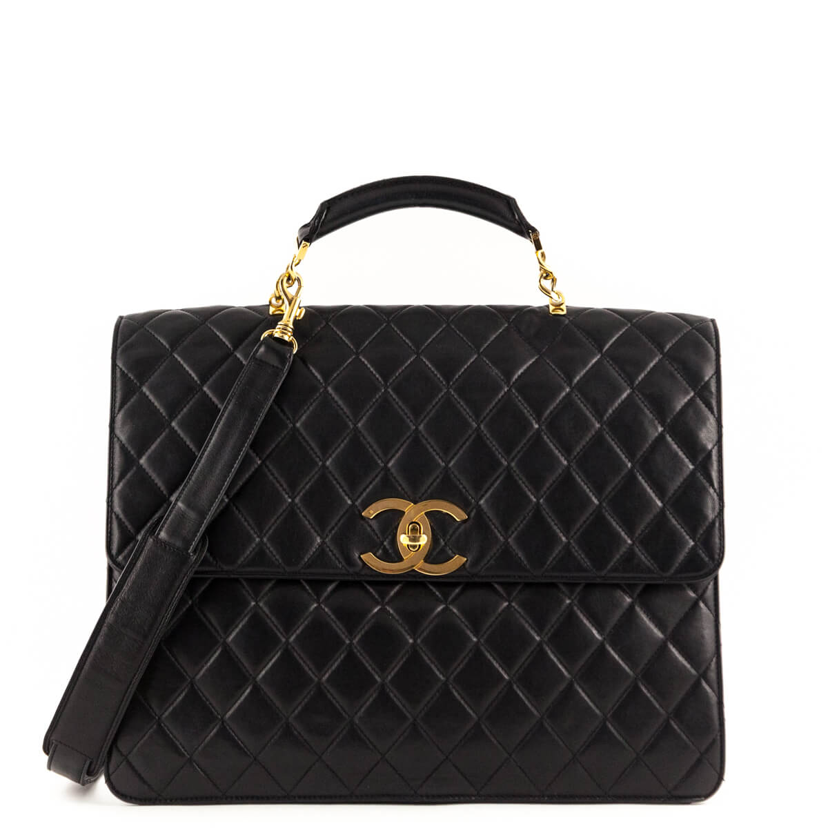 ec36246ca8cb Chanel Black Lambskin Vintage Two Way Top Handle - LOVE that BAG - Preowned  Authentic Designer ...
