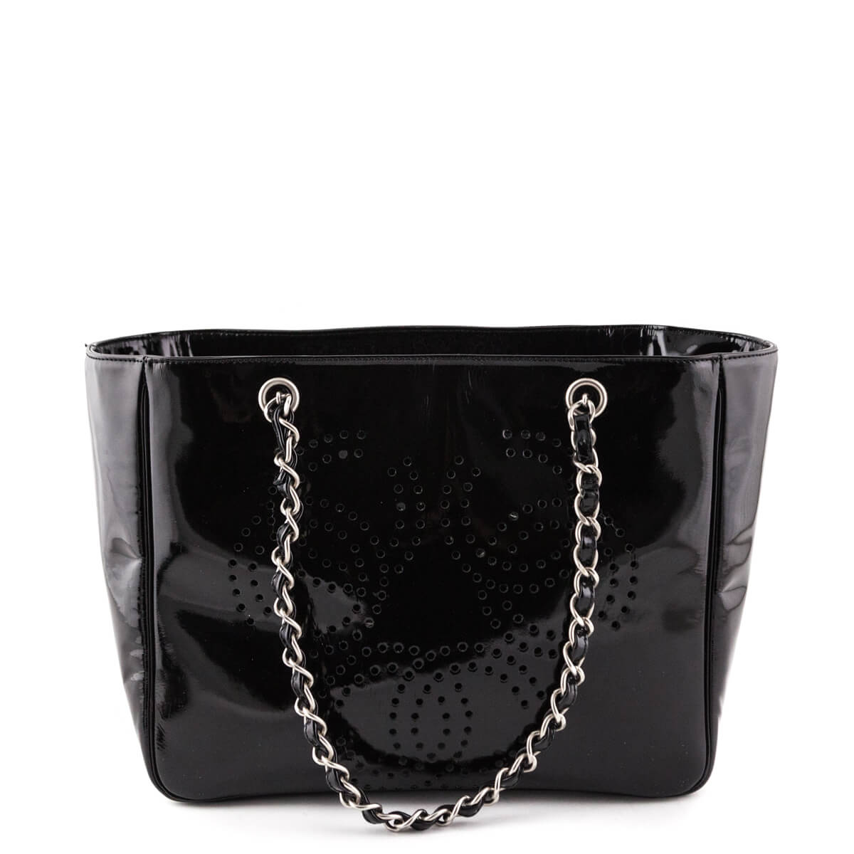 ee4c829ebc9e ... Chanel Black Patent Perforated CC Shopping Tote - LOVE that BAG -  Preowned Authentic Designer Handbags ...