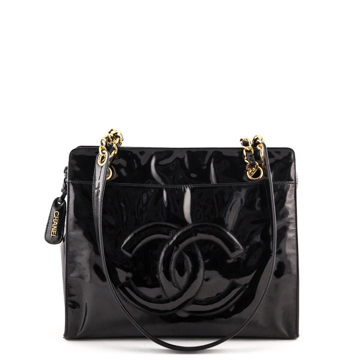 13540cab32b7 Chanel Black Patent Vintage Timeless CC Tote - LOVE that BAG - Preowned  Authentic Designer Handbags ...