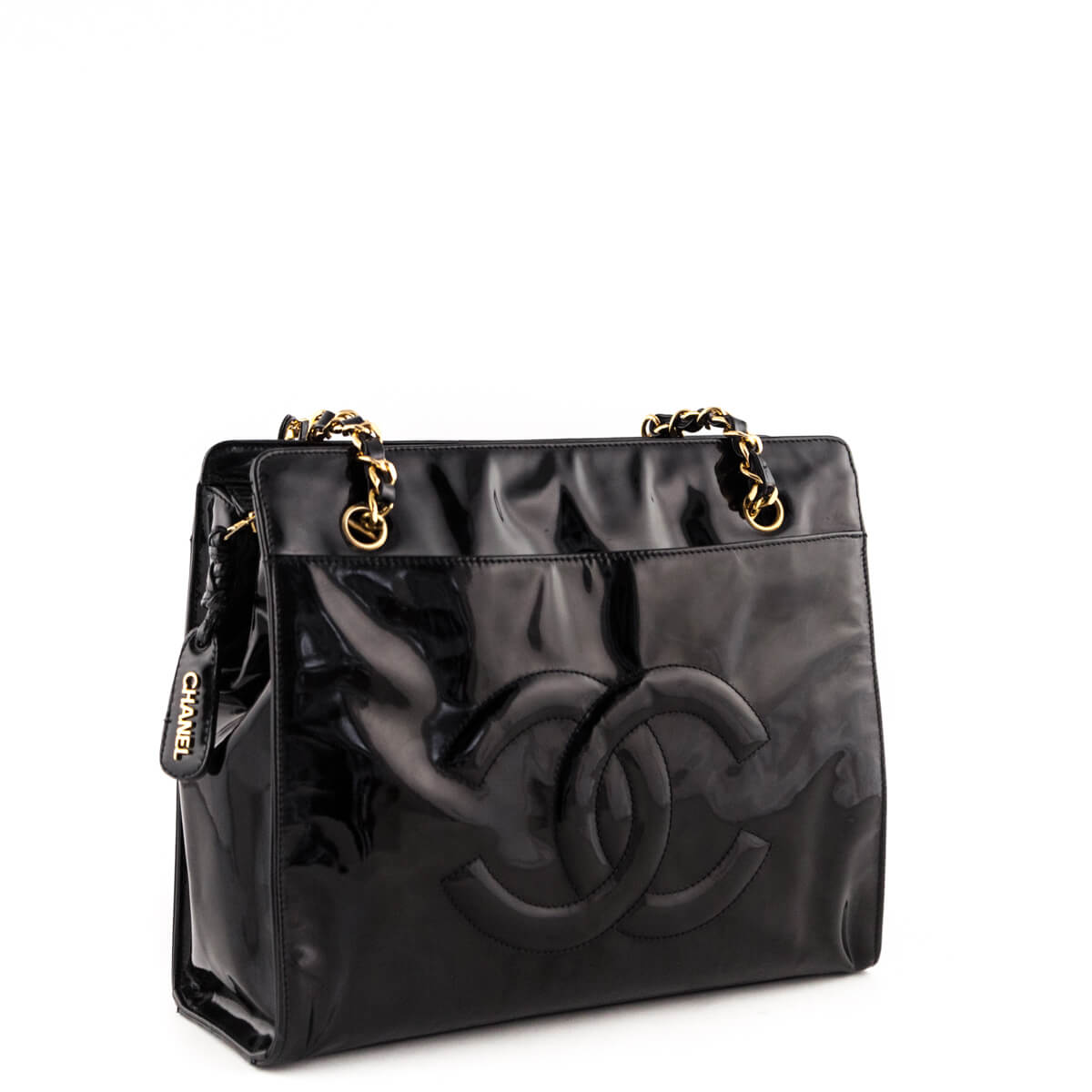 3c9e99c4bf8a ... Chanel Black Patent Vintage Timeless CC Tote - LOVE that BAG - Preowned  Authentic Designer Handbags ...