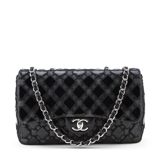 76c623fa05 Chanel Black Patent and Mesh Jumbo Single Flap Bag - LOVE that BAG -  Preowned Authentic