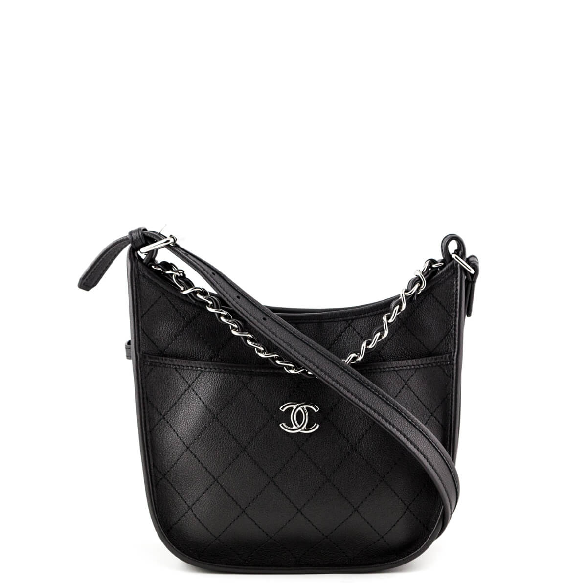 cc68b27078 Chanel Black Quilted Calfskin Small Jungle Stroll Hobo Bag