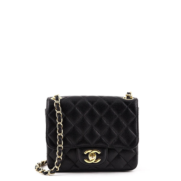 57e460f32de7 Chanel Black Quilted Caviar Mini Square Flap Bag - LOVE that BAG - Preowned  Authentic Designer