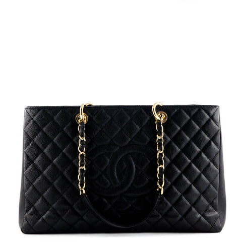 Chanel Black Quilted Caviar XL GST Tote