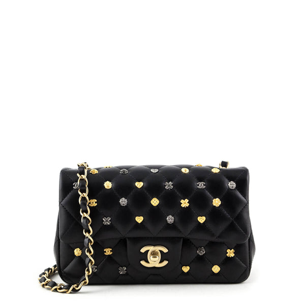 0a00e586b855 Chanel Black Quilted Lambskin Mini 18K Charms Classic Flap Bag - LOVE that  BAG - Preowned