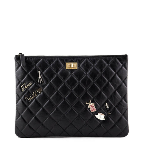 38343d989349 Chanel Black Quilted Lambskin Reissue 2.55 Charm O Case