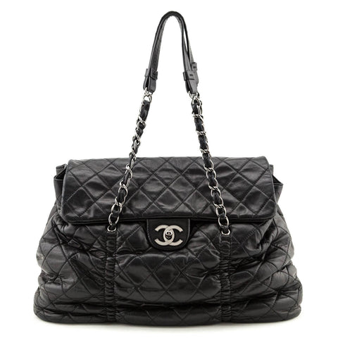 Chanel Brown Quilted Caviar Large Classic Single Flap Bag Shw