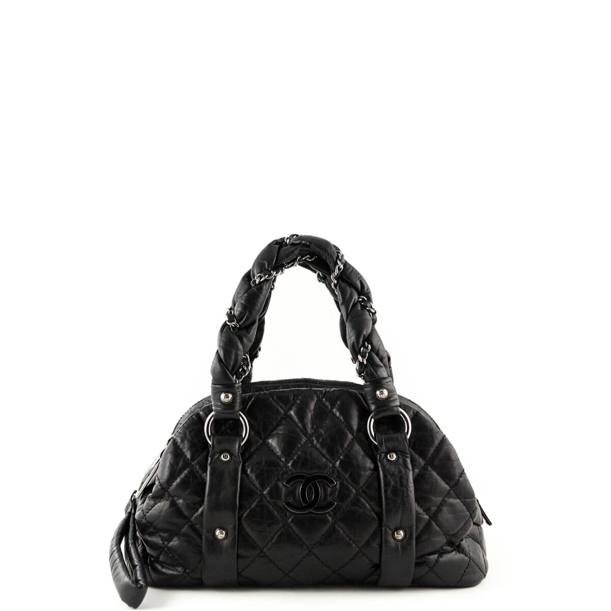 d295b4f76d8f Chanel Black Quilted Leather Small Lady Braid Bowler Bag - LOVE that BAG -  Preowned Authentic ...
