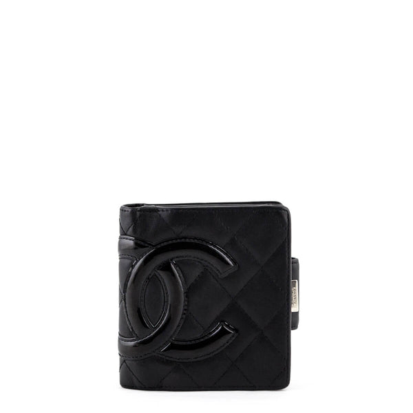 c2fbb51bb78afb Chanel Black Quilted Lambskin Ligne Cambon Compact Wallet - LOVE that BAG -  Preowned Authentic Designer