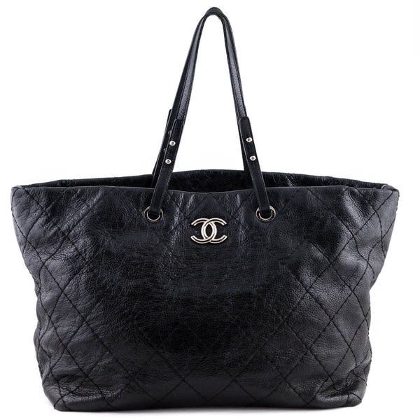 78083c66b25753 Chanel Black Shiny Distressed Caviar On the Road Tote - LOVE that BAG -  Preowned Authentic