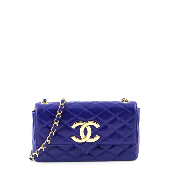 00166165549a Chanel Blue Lambskin Quilted Vintage Pointed Flap bag - LOVE that BAG -  Preowned Authentic Designer