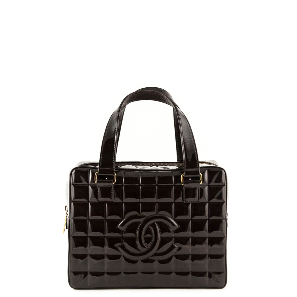35ccdb4a6a9b Chanel Brown Patent Leather Chocolate Bar Tote - LOVE that BAG - Preowned  Authentic Designer Handbags ...