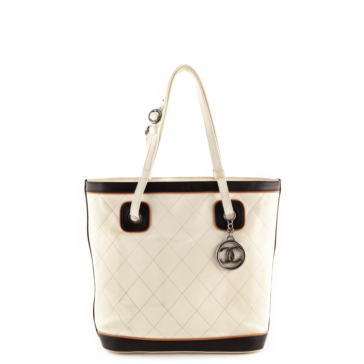 8f57ad481135 Chanel Cream Quilted Top Handle Tote - LOVE that BAG - Preowned Authentic  Designer Handbags ...