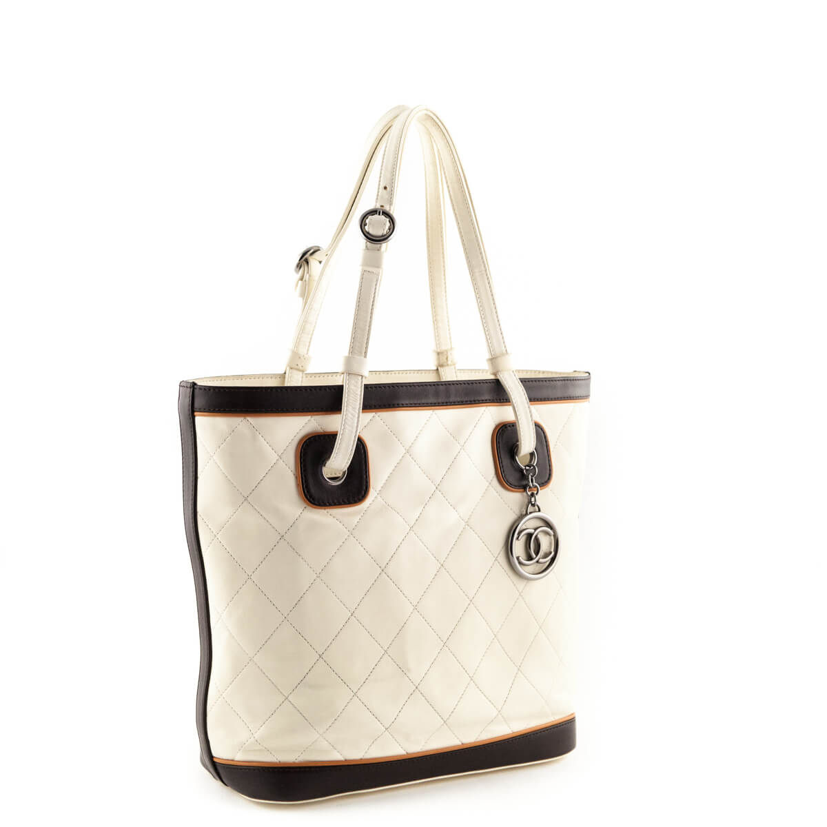 c1f1886f1827 ... Chanel Cream Quilted Top Handle Tote - LOVE that BAG - Preowned  Authentic Designer Handbags ...